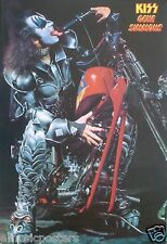 """KISS """"GENE SITTING ON CHOPPER MOTORCYCLE"""" POSTER FROM ASIA - Hard Rock Music"""