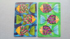 Set of 2 Single Swap/Playing Cards - Vintage Funky Fish