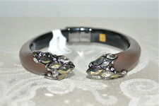 NIB $245 Alexis Bittar Lucite Lace Crystal Cap Bypass Hinged Bracelet Ruthenium