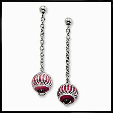 Ladies Chisel® Stainless Steel Red Aluminum Diamond Cut Beads Dangle Earrings