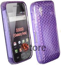 Cover Custodia Per Samsung Galaxy Ace S5830 Viola Gel + Pellicola Salva Display