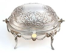 Mappin & Webb English Victorian Silverplate Revolving Oval Dish