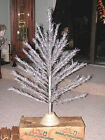 LOVELY VINTAGE 50'S 4' ALUMINUM TAPER CHRISTMAS TREE COMPLETE IN ORIGINAL BOX