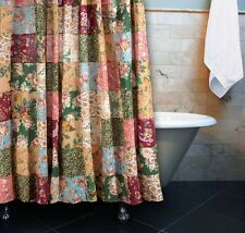 ANTIQUE COUNTRY PATCHWORK SHOWER CURTAIN : BLUE RED COTTAGE FLORAL 100% COTTON
