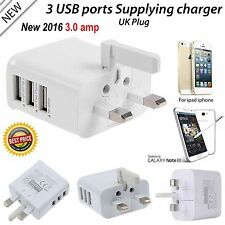 3amp Multi Port USB Charger 3 Port Adapter Travel Wall Power Supply with UK Plug