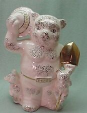 Smokey bear Ceramic Coin Bank white with gold and 2 bear cubs Japan