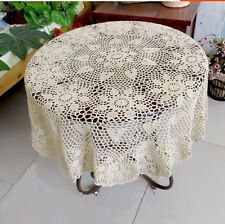 Vintage 26'' Round Handmade Crochet Cotton Lace Doilies Floral Tablecloth Flower
