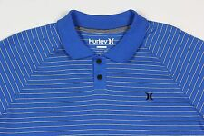 Mens HURLEY Blue White Stripe Nike Dry Fit Polo Shirt XL X-Large NWT Nice!