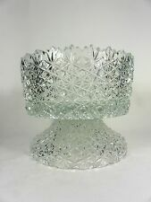 Cut Lead Crystal Pedestal Punch Bowl or Centerpiece Bowl Buttons and Daisies