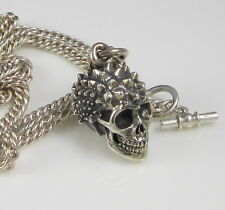 Estate King Baby Large Ornate Sterling Silver Skull Pendant 85 Gram Necklace