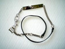NEW CHRISTIAN DIOR SILVER BLACK PATENT LEATHER METAL CHAIN BELT CRYSTALS 85 S M