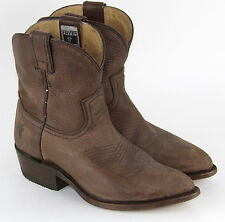 FRYE Billy Short Smoke Brown Leather Western Ankle Boots US 7 M $289