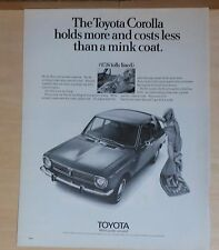 1970 magazine ad for Toyota - Corolla, cost less than mink coat & holds more