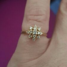 14K Solid Yellow Gold Ladies Diamond Cluster Ring Size 6