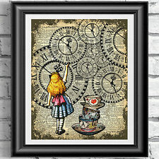 ART PRINT ON ORIGINAL ANTIQUE BOOK PAGE Vintage Alice in Wonderland Dictionary