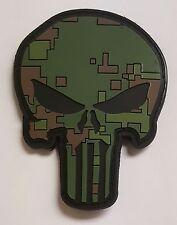 Punisher Skull Green Digital Camo Pattern PVC Patch