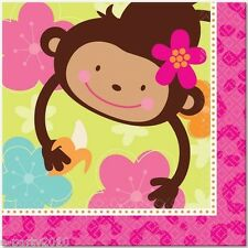 PINK MOD MONKEY LOVE LARGE NAPKINS (16) ~ Birthday Party Supplies Dinner Lunch
