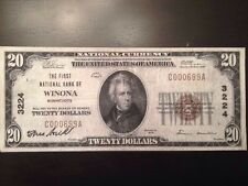 Replica National Bank Note $20 First National Bank Of Winona Minnesota 1929