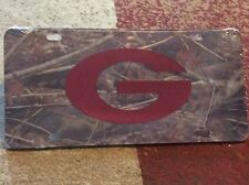 Georgia Bulldogs Laser Cut Red Mirrored G Logo in A Camo Acrylic Car Tag