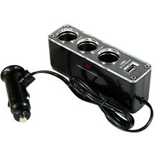 3 Way 12v Car Cigarette Lighter Charger Adaptor + USB Port Phone PDA SatNav MP3