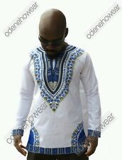 Odeneho Wear Men's White Polished Cotton Top/Dashiki Design. African Clothing. S