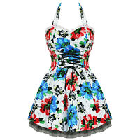 Ladies New Hearts & Roses London 50s Vtg Blue Red Floral Mini Party Prom Dress