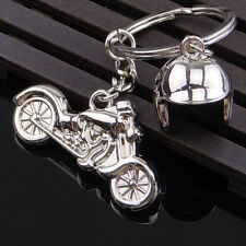 Fashion Creative Silver Motorcycle Keychain Alloy Pendant Metal Helmet Key Ring
