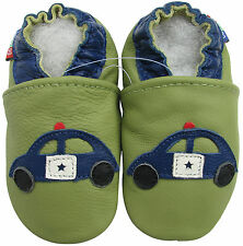 carozoo police car green 4-5y new soft sole leather kids shoes