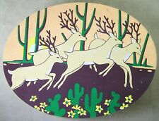 Decorative Balsa Wood OVAL SHAPED BOX & LID with DEER DECOR 10 x 7.5 x 3.5 in