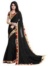 Wama fashion georgette black color  flower design printed designer saree