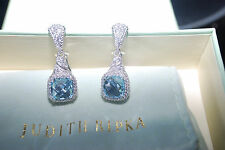 New  Judith Ripka Sterling 6.65ct Blue Topaz & Diamonique Earrings