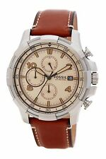 NWT Fossil Men's Dean Chronograph Leather Strap Watch, FS5130, Brown Silver
