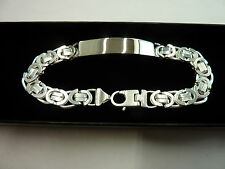 Mens Solid Sterling Silver.925 Byzantine ID Bracelet *Free Engraving* 31 grams
