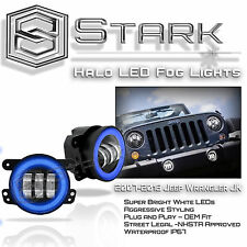 "30W CREE 4"" In LED Fog Light WHITE Halo Angel Eyes (BLUE) Jeep Wrangler JK 07-16"