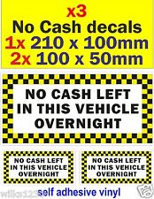 3 No cash left in this vehicle overnight decal taxi cab HACNKEY sign car van bus