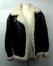 Vintage Aviation Sheepskin Shearling Leather Winter Flight Jacket Medium