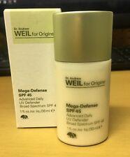 Dr. Andrew Weil Origins Mega-Defense Broad SPF45 Advanced Daily UV  1oz/30ml New