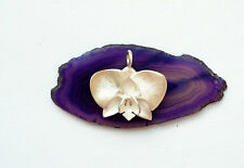 UNIQUE PENDANT * ORCHID FLOWER * STERLING SILVER 925 HAND MADE ARTISAN JEWELRY