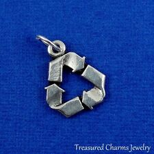 SILVER RECYCLE SYMBOL CHARM Environment Earth Day PENDANT