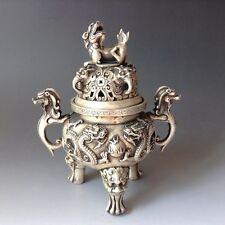Silver Copper Dragon Incense Burner & Lid w Foo Dog w Ming Dynasty Xuan De Mark