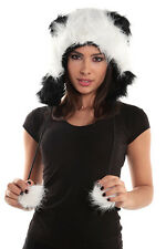 Panda B&W Faux Fur Animal Hat Hood Winter Ski Snow Warmer Pet Plush Poms Bear