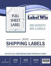 "250 Full Sheet shipping Label - 8.5"" x 11"" (Same size as Avery 5165) Label Wiz"