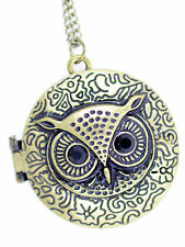 Vintage retro Art Deco style bronze owl locket necklace