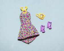 WILD! Purple Yellow Pink Leopard Print Genuine BARBIE Short Dress w/ Heels