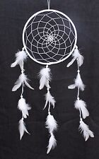 "NEW 5"" x 15"" WHITE DREAM CATCHER HANDMADE WITH FEATHERS CAR OR WALL DECOR IW"