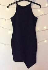 River Island Navy Asymmetric Bodycon Dress Size 8