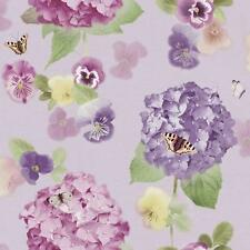 ARTHOUSE ANNABELLE FLOWER PATTERN BUTTERFLY FLORAL MOTIF WALLPAPER ROLL LAVENDER