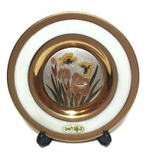 Chokin Plate 24KT Gold Edged Porcelain Butterfly Collectors Plate Home Decor