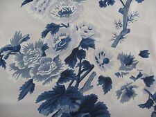 "SCHUMACHER CURTAIN FABRIC DESIGN ""Pyne Hollyhock"" 6.2 METRES INDIGO 100% COTTON"