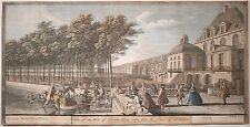 """Jacques Rigaud Antique Engraving """"Court of Fountains Palace Fontainebleau"""" 1730!"""